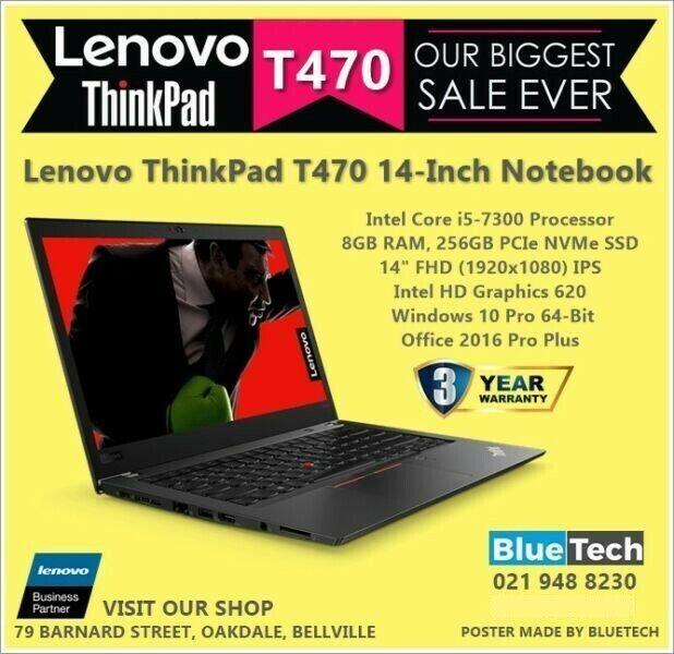 Lenovo Thinkpad T470 Business laptop - 3 Year Lenovo Warranty.