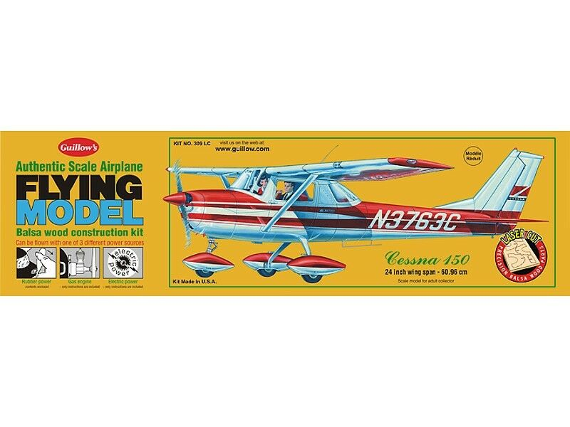 Guillows 309 LC - Cessna 150 1 16 Authentic Scale Balsa Wood Kit 24  Wing Span