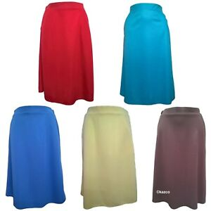 Ladies-Plain-Skirts-With-Pockets-Womens-Skirt-Size-10-22-Red-Blue-Yellow-Pink
