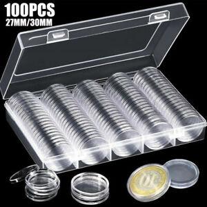 100pcs-Support-Boite-PLASTIQUE-avec-Piece-de-Monnaie-27-30mm-Capsules-Rangement