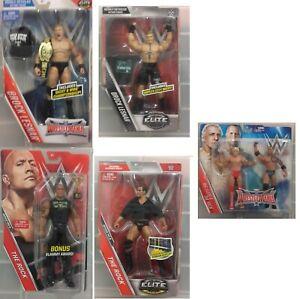 WWE-Mattel-Figur-Brock-Lesnar-The-Rock-NEU-Elite-exclusive-Slammy-Ric-Flair
