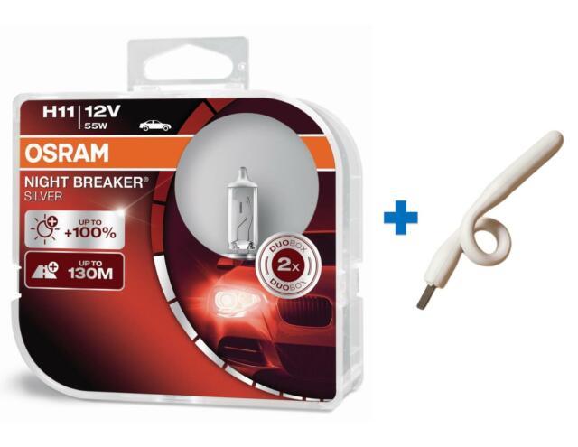 H11 12v NIGHT BREAKER SILVER +100% luce 2st OSRAM + Luce USB BIANCO