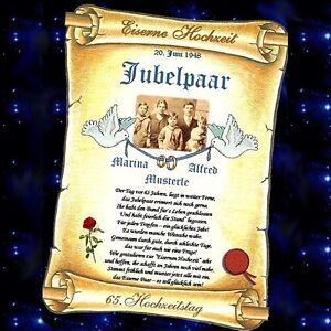 Das Bild Wird Geladen Eiserne Hochzeit  65 Hochzeitstag Urkunde Personalisiertes GESCHENK 65