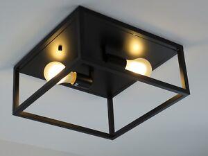 Plafoniera industrial vintage nero quadrata classico rustico