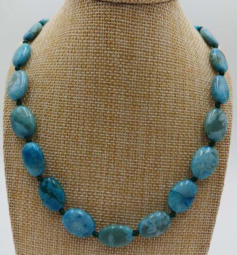 "13x18mm Naturel Bleu Crazy Agate Onyx Ovale Perles Collier 18/"""