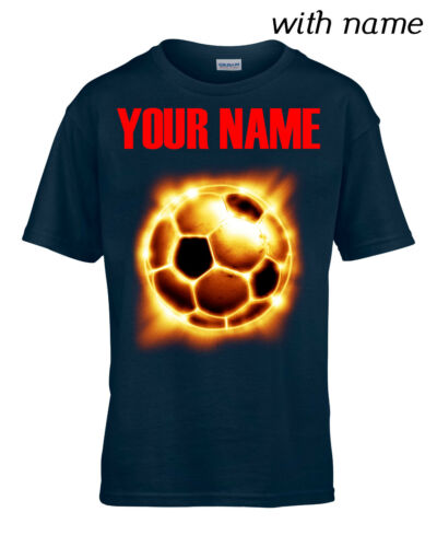 Personalized Kids T-Shirt DTG YOUR NAME FOOTBALL FIRE