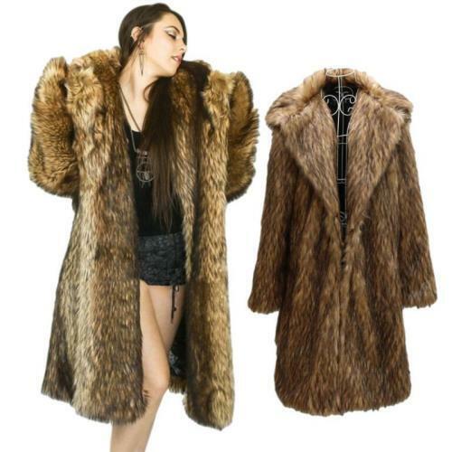 S-9XL Womens Faux Fur Coat Long Overknee Thicken Warm Plush Fluffy Parka Vogue L