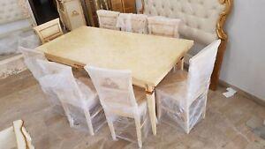 Sedie Da Cucina In Legno : Tavolo sedie da cucina in legno avorio e oro arredo casa