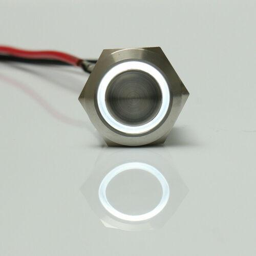 2x Auto 12mm Metall Wasserdicht LED Momentaner Rastender Power Druckknopf Taster