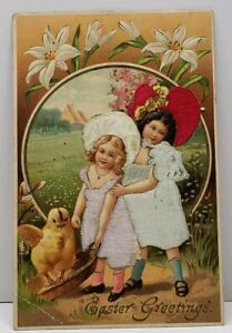 Easter-Greetings-Sweet-Girls-With-Large-Chick-Silk-Embossed-1911-Postcard-G13