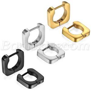 2pcs-Men-039-s-Women-039-s-Fashion-Stainless-Steel-Square-Hoop-Huggie-Ear-Studs-Earrings