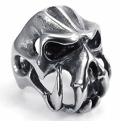 Vintage Stainless Steel Gothic Skull Biker Men's Ring , Color Silver Black