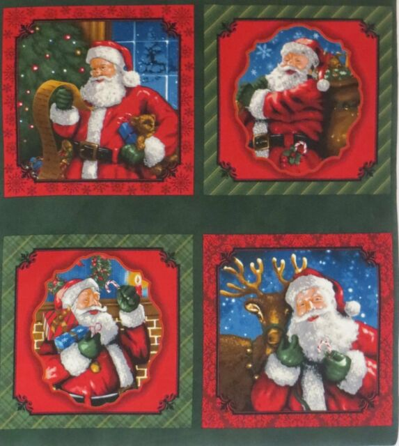 "Christmas Santa Claus Fabric Classic Style with Gifts List 4 Large 10"" squares"