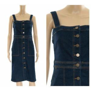ex-M-amp-S-Pinafore-Denim-Midi-Button-Through-Pockets-Dress