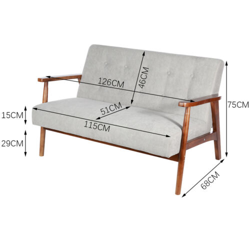 Mid Century Accent Armchair Relaxing Sofa Loveseat Wooden Frame Lounge Seat Sofa