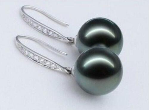 Beautiful a pair AAA round 9-9.5mm tahitian black pearl earrings S925