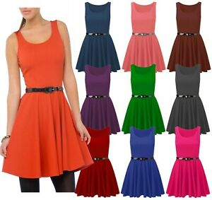 a742ce282c58 New Womens Plus Size Skater Dress Belted Sleeveless Short Mini Party ...