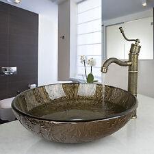 Bathroom bowl washbase tempered glass basin sink faucet set