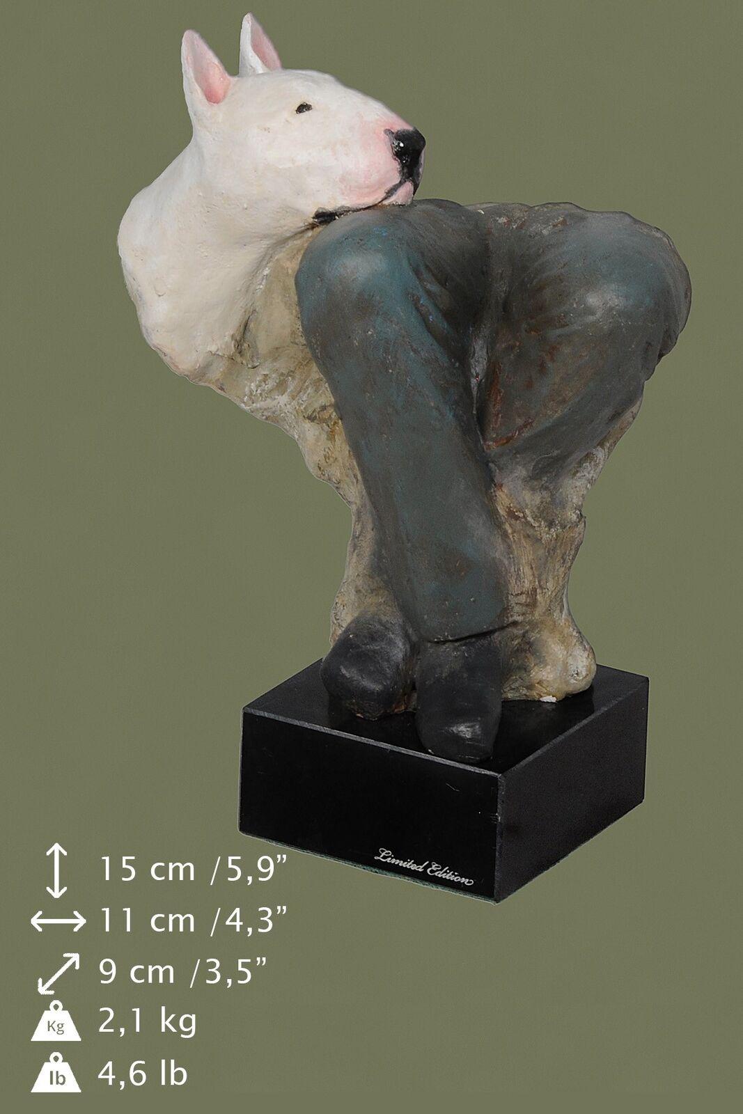 Bull Terrier - statuetta di cane in bronzo dipinta, Art Dog IT