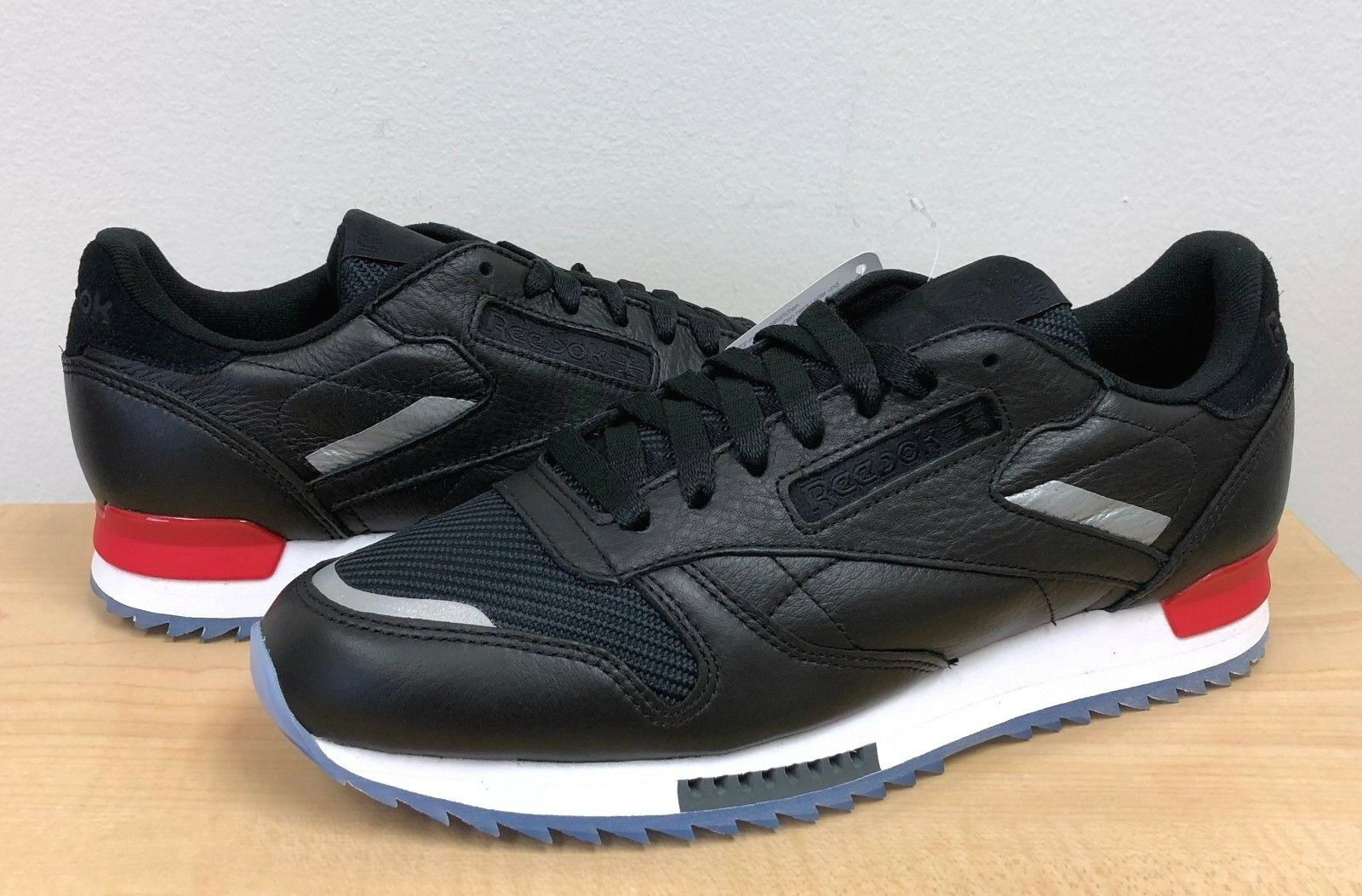 MENS RIPPLE REEBOK CLASSIC CL LEATHER RIPPLE MENS LOW BP BS5218 Black/White/Red/Dust-Ice 2059fd