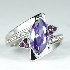 Women-039-s-10-Carat-white-Gold-Filled-Purple-Crystal-Ring-Jewellery