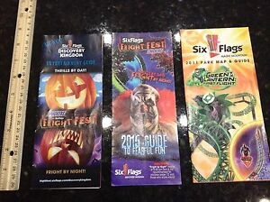 Six Flags Discovery Kingdom Vallejo Park Map lot of 3 Fright fest | eBay