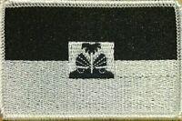 Haiti Flag Iron-on Tactical Patch Black & White Version. White Border 30