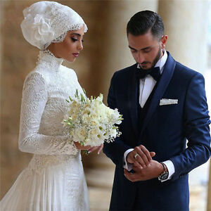 Vintage high neck long sleeve white lace a line muslim wedding dress image is loading vintage high neck long sleeve white lace a junglespirit Images