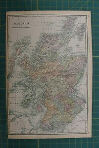 Scotland vintage original 1892 rand mcnally world atlas map lot ebay image is loading scotland vintage original 1892 rand mcnally world atlas gumiabroncs Image collections