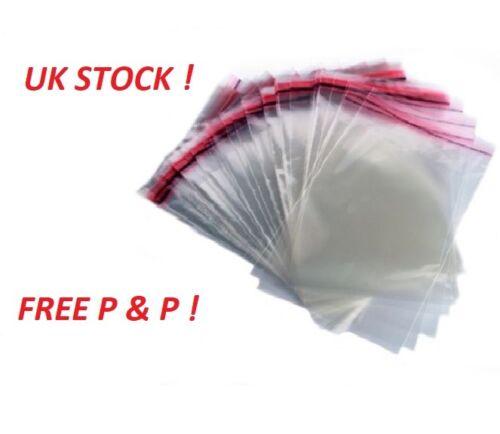 """50 Clear Cellophane Bags 9/""""x12/"""" Violoncelle Affichage Vêtement Self Adhésif Peel Seal"""