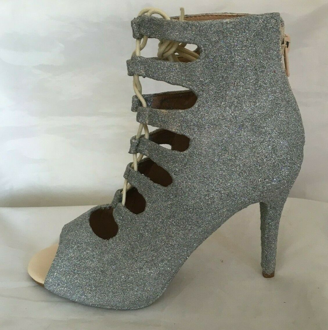 * NEUF * Chaussures femmes/Sandales Taille UK 6/39 Holographique Glitter/ARGENT/Scintillant Talons