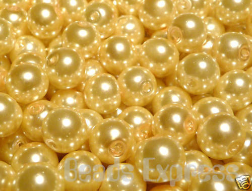 Golden Yellow 8mm CR8011 50 Glass Pearl Round Beads