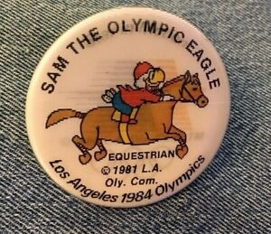 Equestrian-1984-Olympic-Pinback-Button-Pin-Holographic-Hologram-Sam-the-Eagle