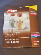 Avery Print To The Edge Oval Labels 22854 6 Sheets New