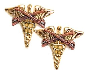 Medical-Cavalry-Officer-Collar-Brass-Badge-Pin-Army-Medic-Uniform-Insignia-Lot