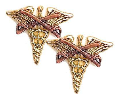 Medical Officer Collar Brass Badge Pin Army Doctor Medic Uniform Insignia 2 PINS