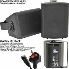 Pair of Black 60W Powered/Active Wall Speakers–Satellite Stereo Home Cinema Mini