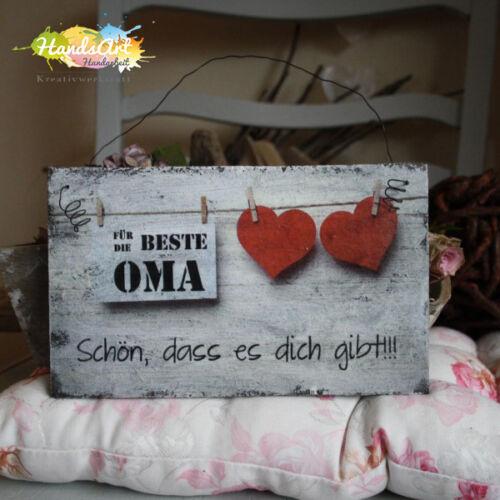 Herzen Holzschild Geschenk Dekoration Muttertag Shabby Style Für die beste Oma
