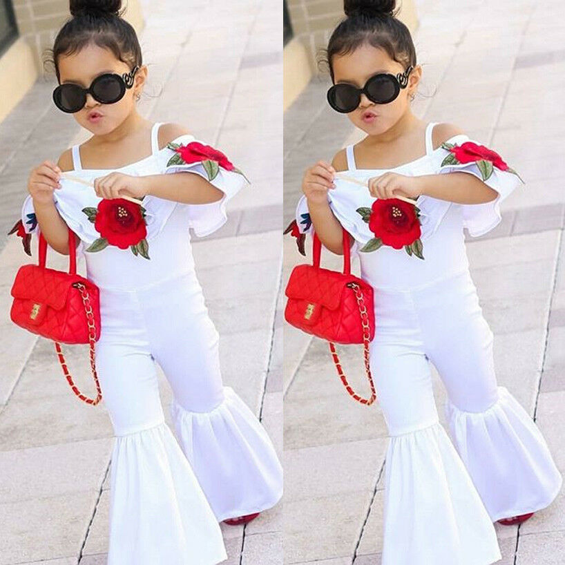 5d98463c94a1 USA Kids Baby Girl Off shoulder Floral Romper Jumpsuits Trousers Outfits  Clothes