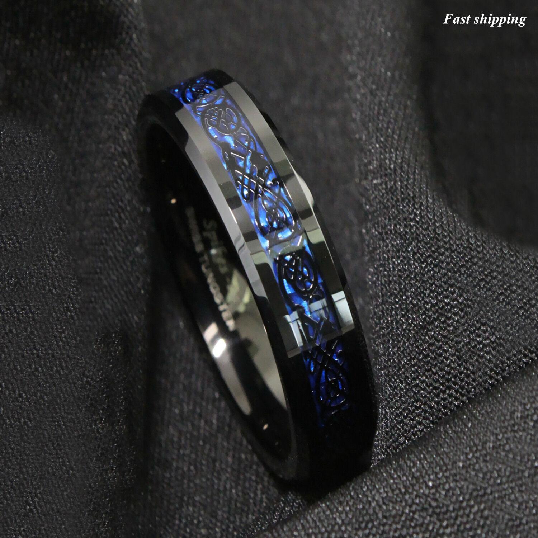 86mm Tungsten Carbide Ring Black Celtic Dragon Blue carbon fibre