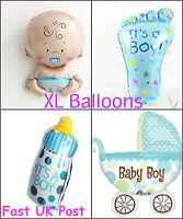 New Baby Shower Foil Helium Balloons Set Blue Boy Pram Bottle Foot Newborn XL