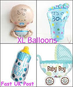 New-Baby-Shower-Foil-Helium-Balloons-Set-Blue-Boy-Pram-Bottle-Foot-Newborn-XL