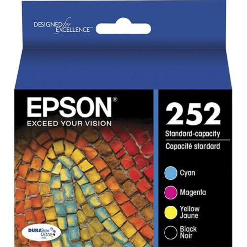 for WORKFORCE WF-3640 NO RETAIL BOX 4-PACK Epson GENUINE 252 Black /& Color Ink