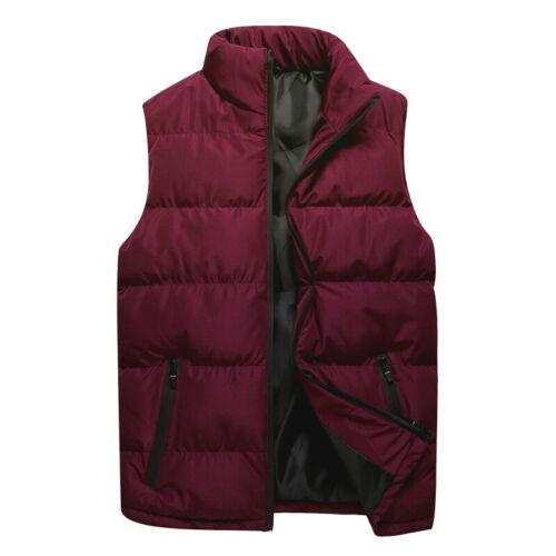 Mens Sleeveless Warm Vest Winter Snow Parka Overcoat Puffer Zip Outwear Jacket