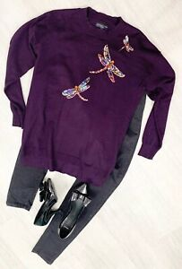 ladies-Purple-Dragonfly-Jumper-Long-Sleeve-Pull-Over-Size-10-Casual-Occasion