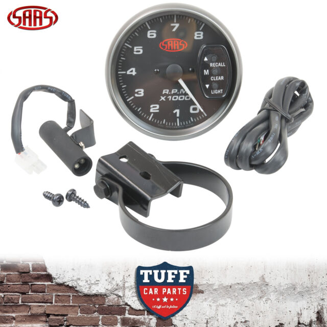 SAAS Tacho Gauge Electric Black Face 95mm Multi Colour Tachometer + Fitting Kit