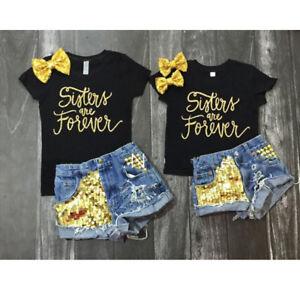 Summer Toddler Kid Baby Girls T-shirt Tops+Denim Shorts Outfits Clothes 2PCS