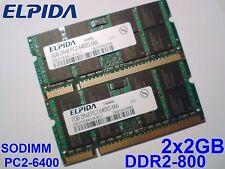 4GB 2x2GB DDR2-800 PC2-6400 ELPIDA 800Mhz LAPTOP SODIMM RAM MEMORY SPEICHER
