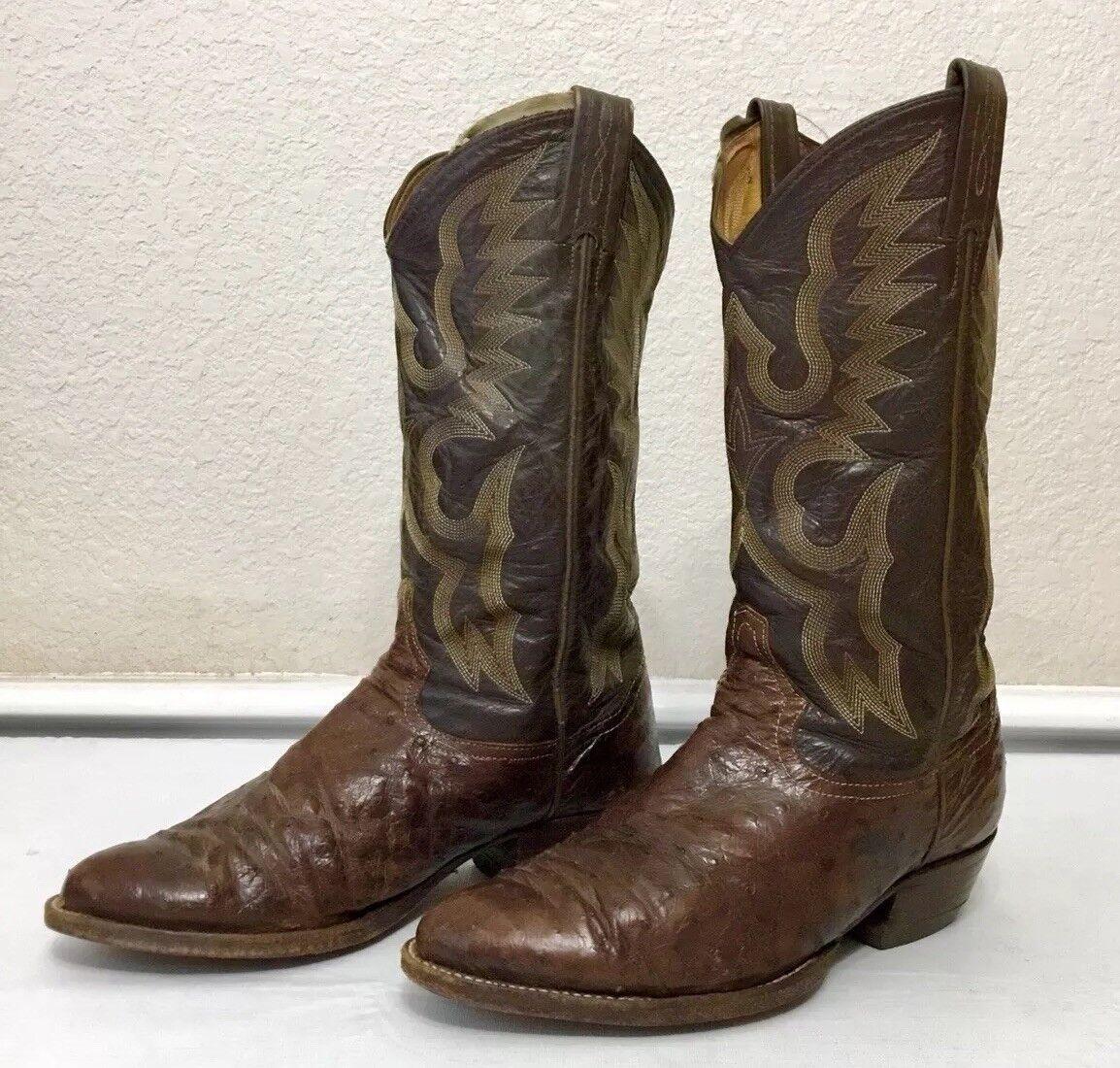spedizione veloce a te Vintage Tony Lama Lama Lama Y8598 Ostrich Leather Cowboy stivali Dimensione 8 EE 8598  divertiti con uno sconto del 30-50%