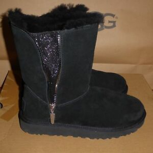 2a063099a7f Details about UGG Australia Womens Marice Zip Short Boots Suede 1019633  Black Sz 6 NIB NoLid